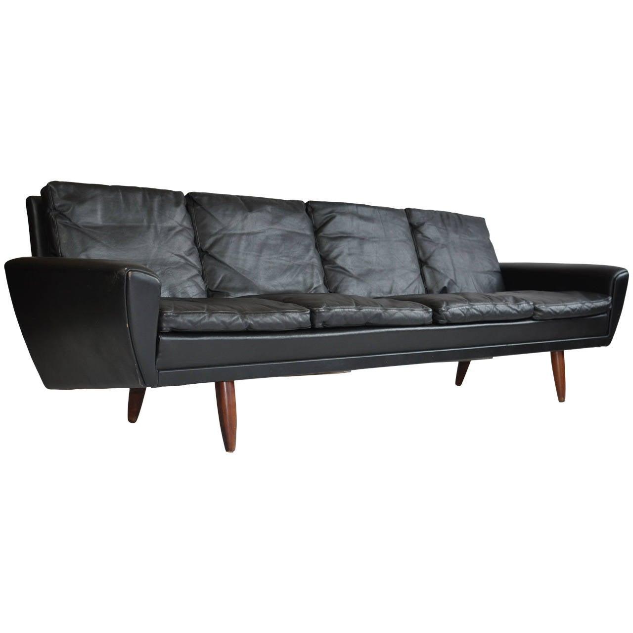 XL 1970's Danish Rosewood And Leather Modular Sofa