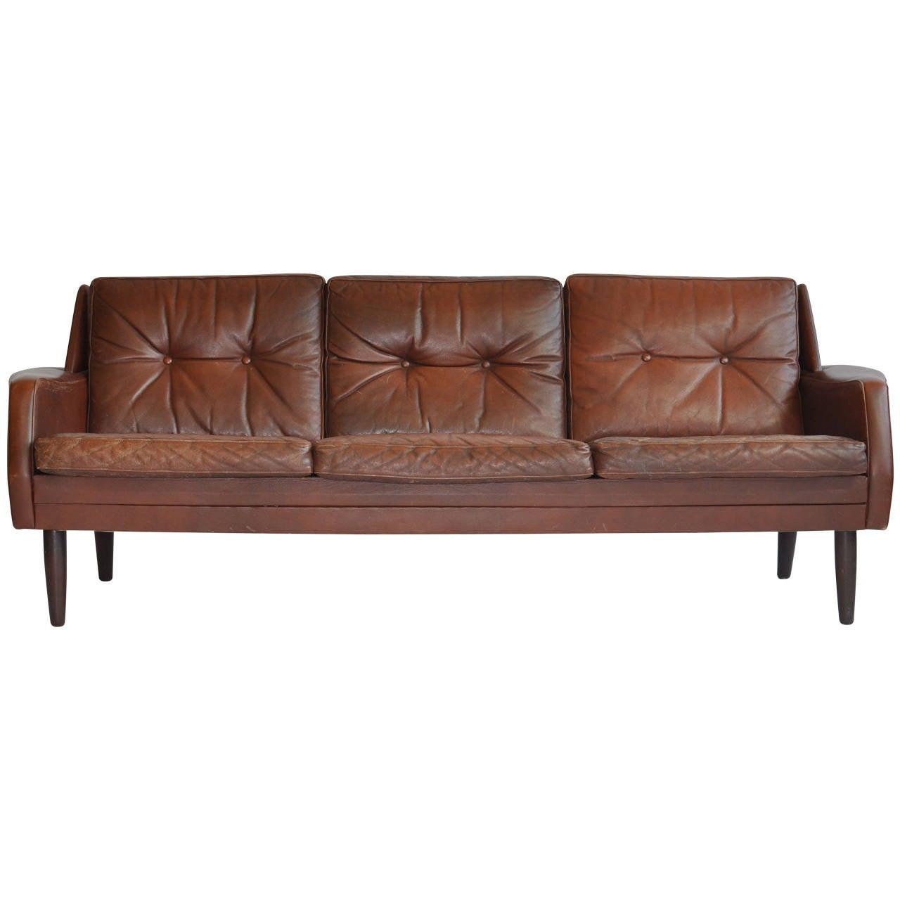 Danish leather sofa at 1stdibs for Scandinavian sofa
