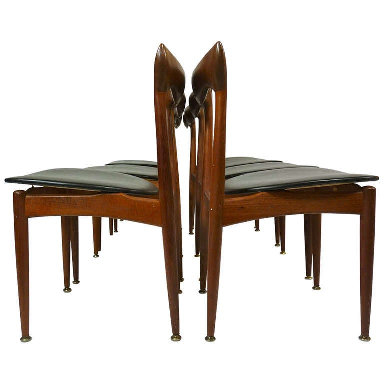 Set of Eight Teak Danish Dining Chairs by H. W. Klein For Sale