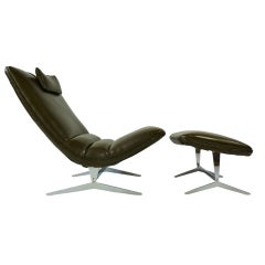 Unique Sculptural Lounge Chair and Ottoman