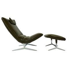 Unique Sculptural Lounge Chair And Ottoman