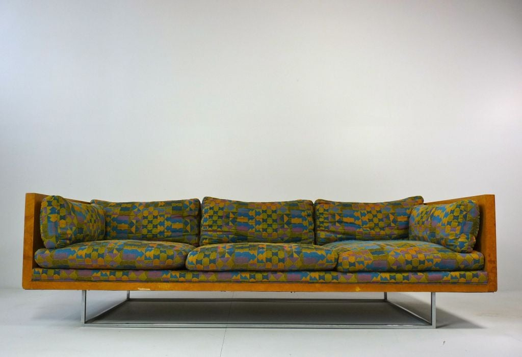 Charming Milo Baughman Burlwood Floating Sofa 2