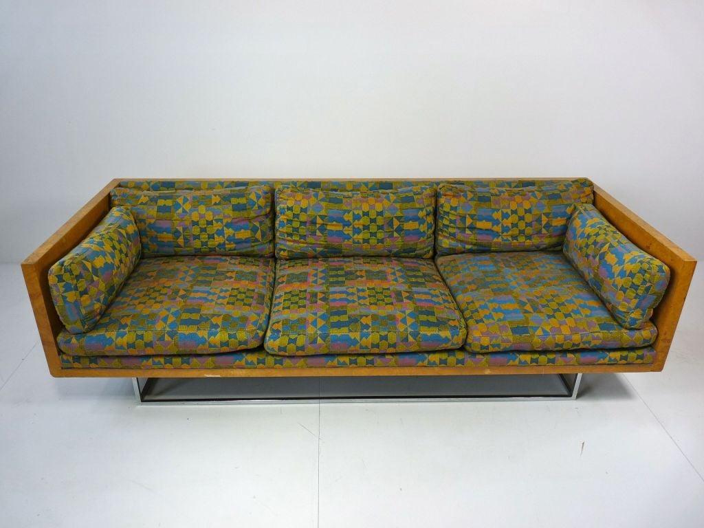 Milo Baughman Burlwood Floating Sofa For Sale At 1stdibs
