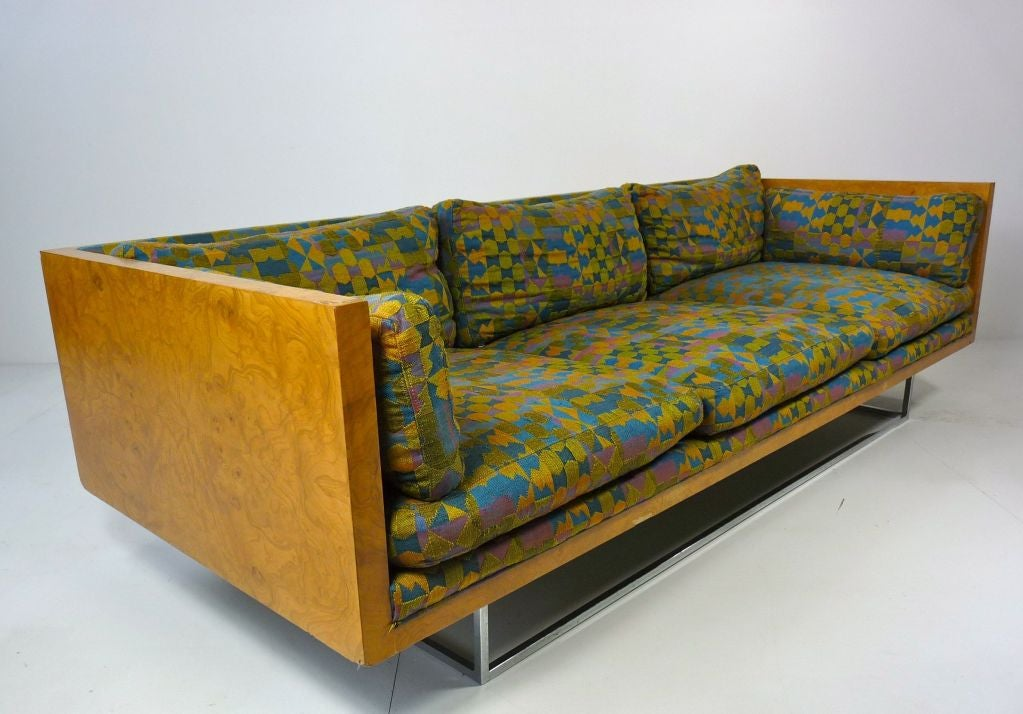 Milo Baughman Burlwood Floating Sofa For Sale At 1stdibs