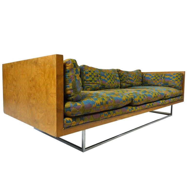 Curved Floating Sofa: Milo Baughman Burlwood Floating Sofa For Sale At 1stdibs