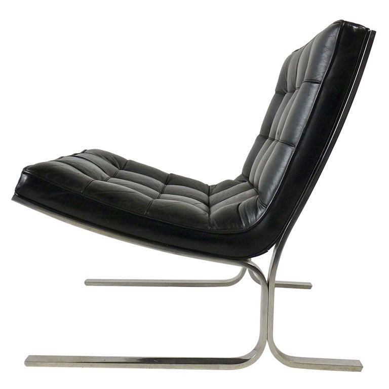 Nicos Zographos Black Leather Lounge Chair