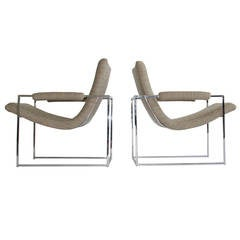 Pair of Petite Milo Baughman Chrome Lounge Chairs
