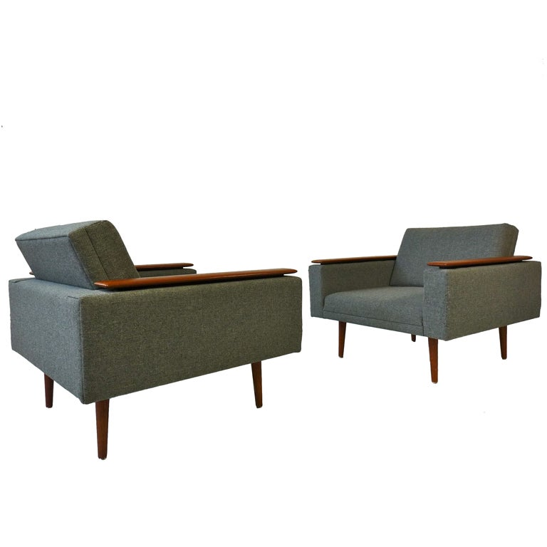 Danish Modern Sleek Low Lounge Chairs at 1stdibs