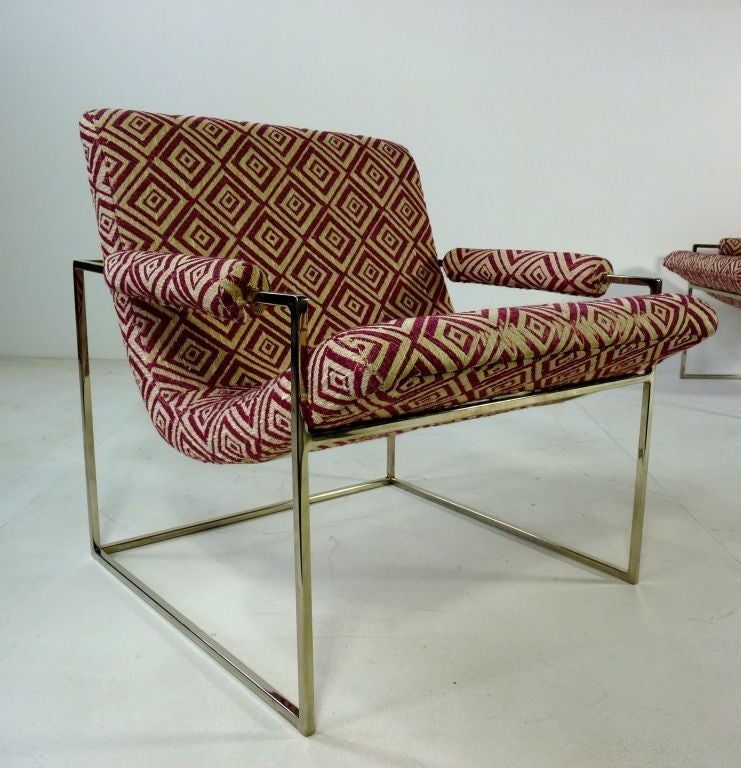 American Pair Of Petite Milo Baughman Chrome Lounge Chairs For Sale