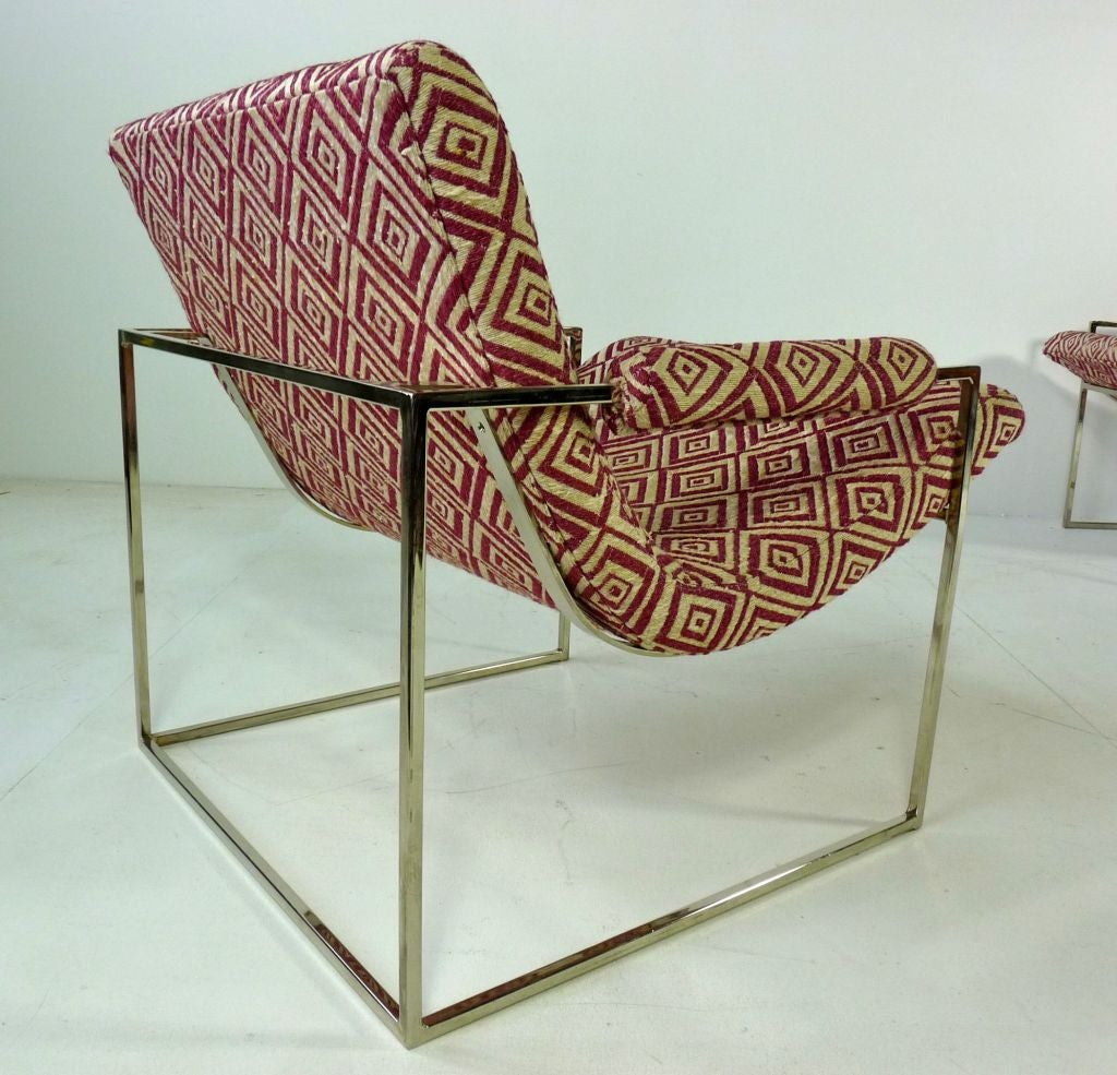 Mid-20th Century Pair Of Petite Milo Baughman Chrome Lounge Chairs For Sale