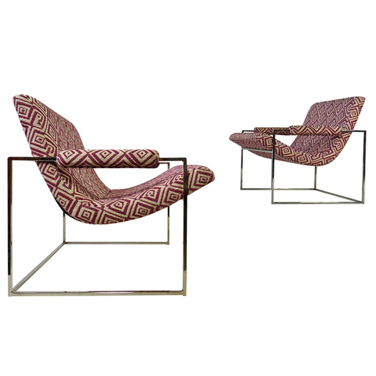 Pair Of Petite Milo Baughman Chrome Lounge Chairs For Sale