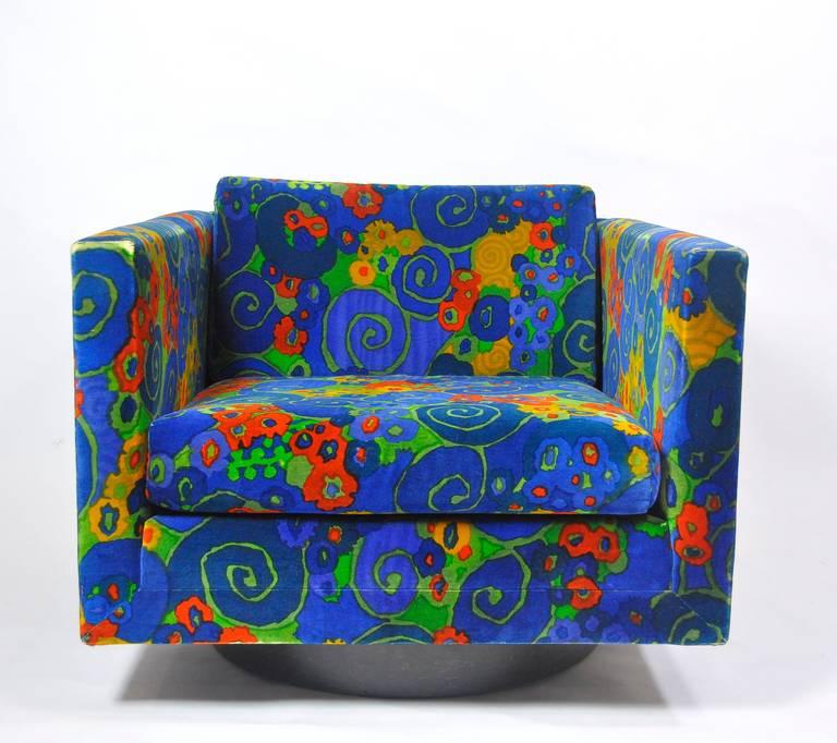 Harvey Probber swivel cube lounge chair with original Jack Lenor Larsen fabric.