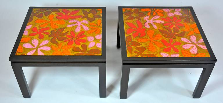 Pair of Harvey Probber side tables with fire-enameled copper tops.