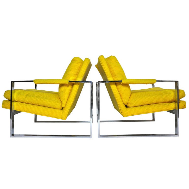 Pair of Milo Baughman Chrome Frame Lounge Chairs