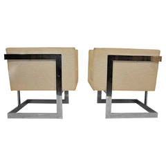 Pair of Milo Baughman Petit Cube Chairs