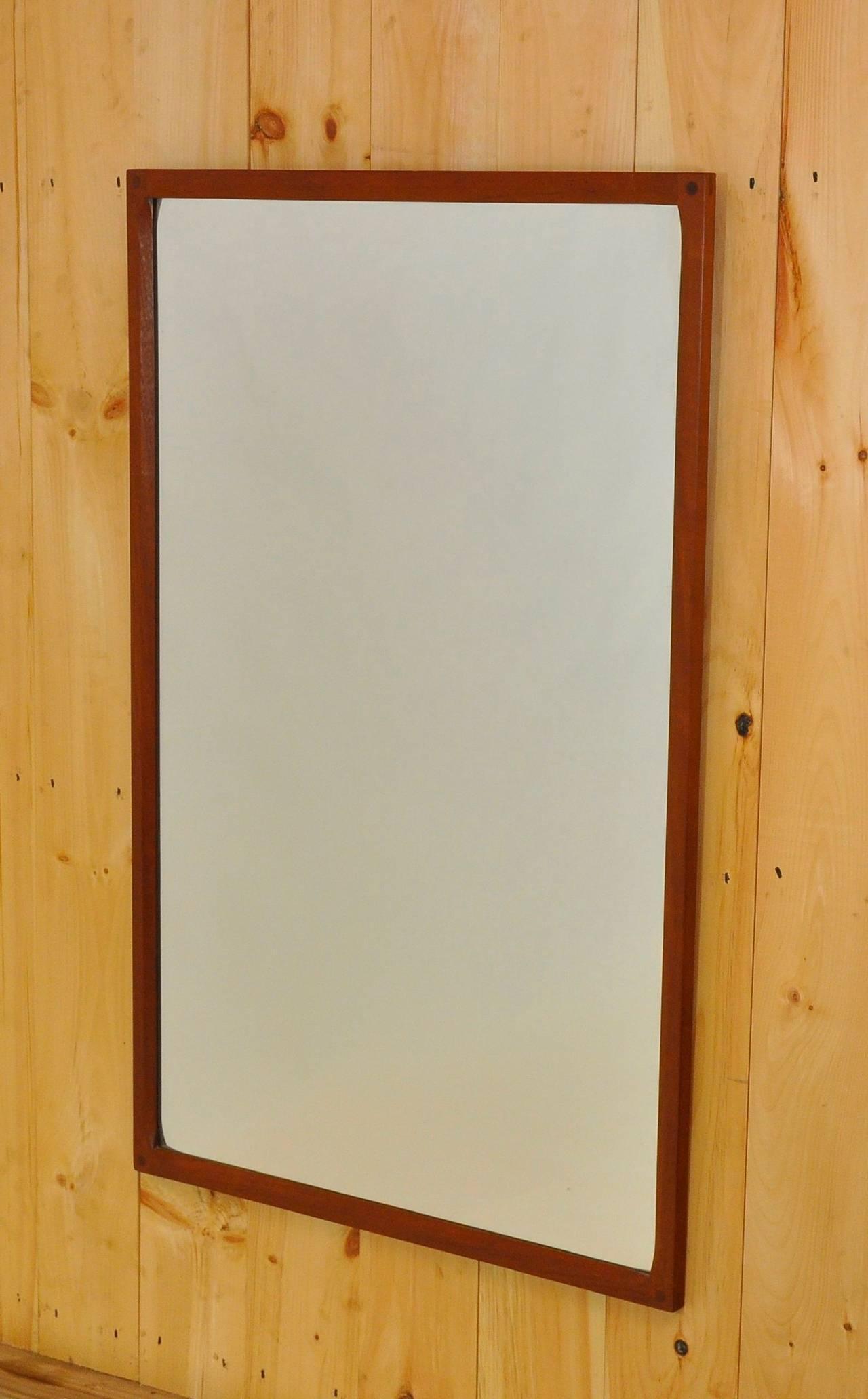 Danish Teak Mirror by Aksel Kjersgaard In Good Condition For Sale In Pelham, MA