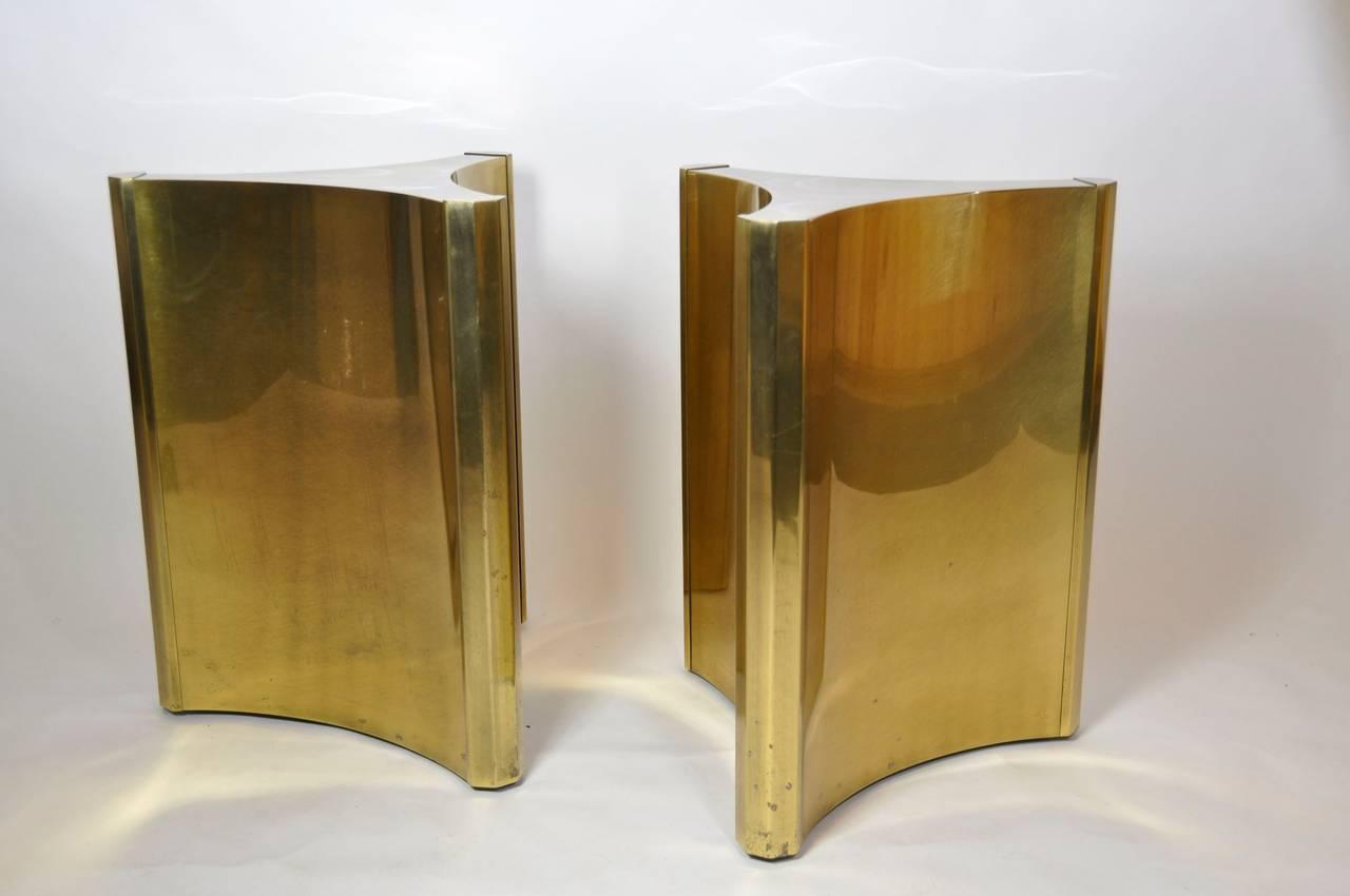 Mastercraft brass dining table - Pair Of Mastercraft Brass Dining Table Pedestals 2