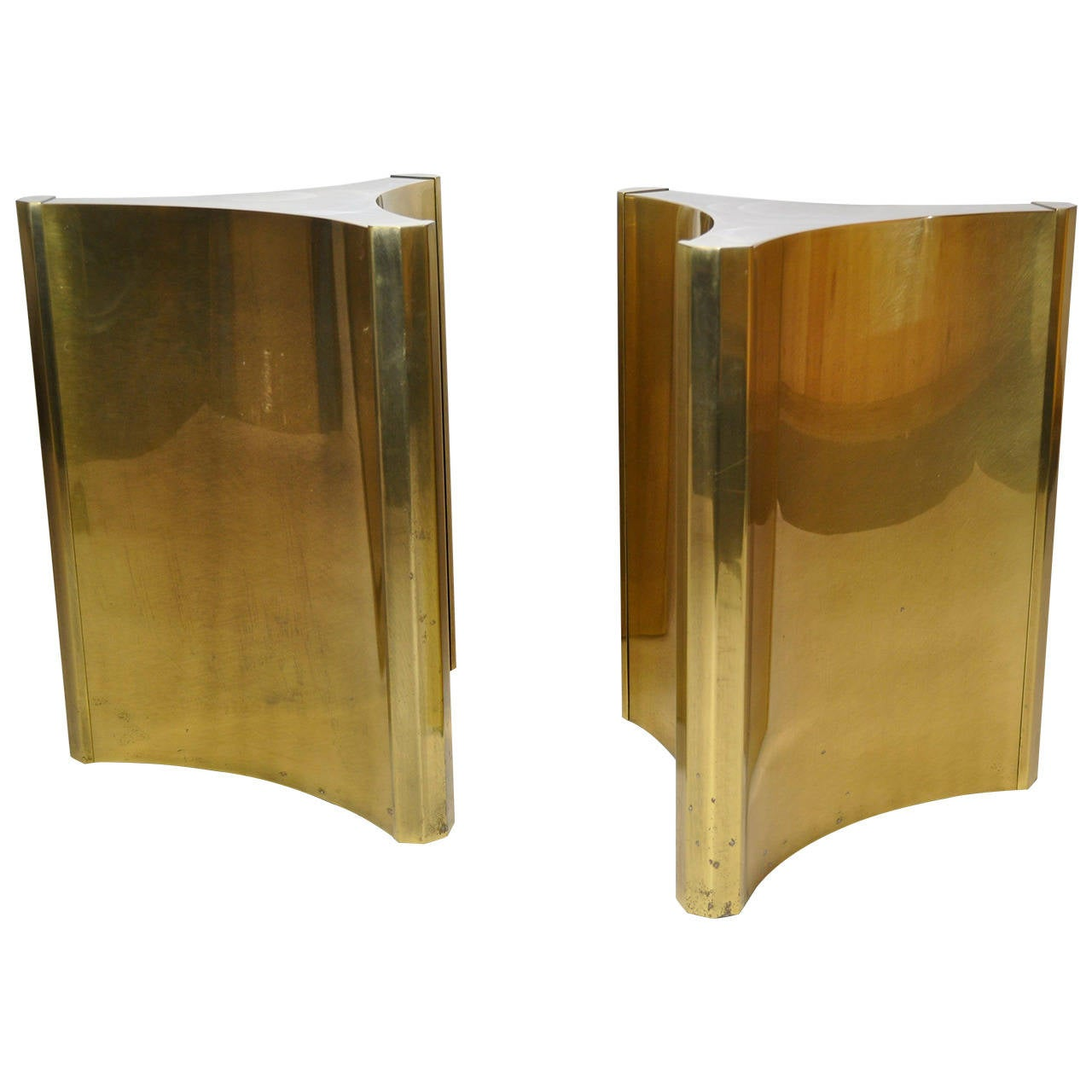 Mastercraft brass dining table - Pair Of Mastercraft Brass Dining Table Pedestals 1
