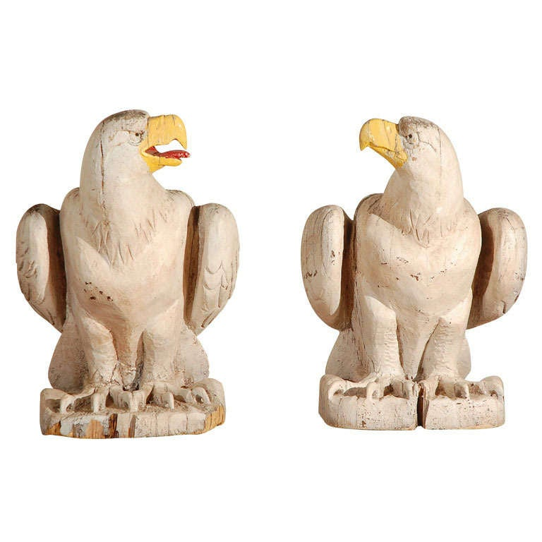 American Architectural Wood Carved Eagles For Sale