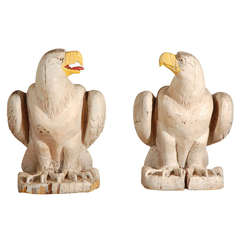 Pair of Substantial and Iconic American Wood Carved Eagles