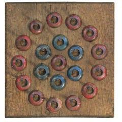 Cast Iron and Wood Carnival Ring Toss Game Board