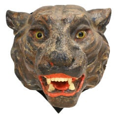 Carnival Or Circus Glass Eyed Tiger Head