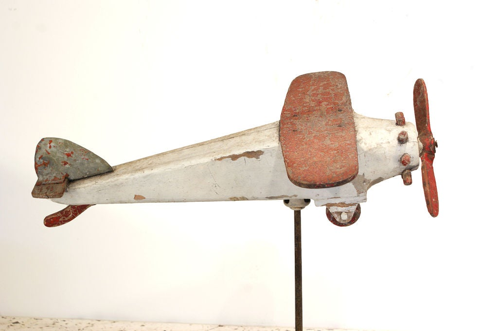 American Carved Wood Folk Art Airplane, circa 1940s For Sale