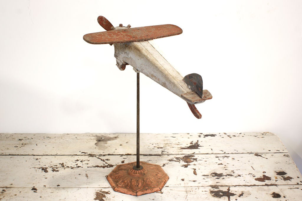 Mid-20th Century Carved Wood Folk Art Airplane, circa 1940s For Sale