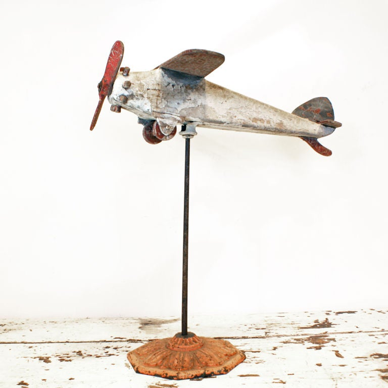 Carved Wood Folk Art Airplane, circa 1940s In Good Condition For Sale In Santa Monica, CA
