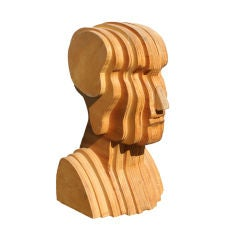 Abstract Folk Art Plywood Bust
