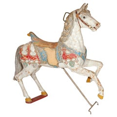 Wood Carved Carousel Horse with Original Park Paint