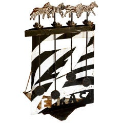 Large Iron Galloping Zebra Iron Perpetual Motion Folk Art, Texas