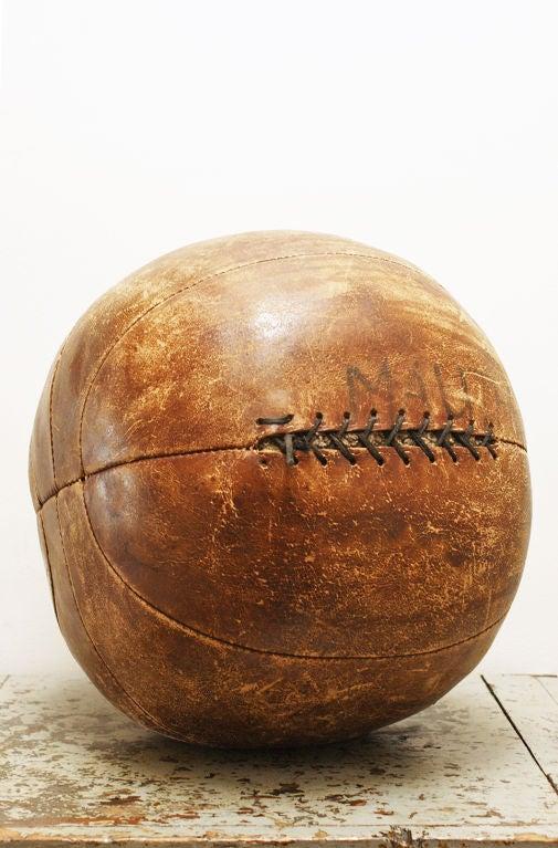 Vintage Leather Medicine Ball at 1stdibs