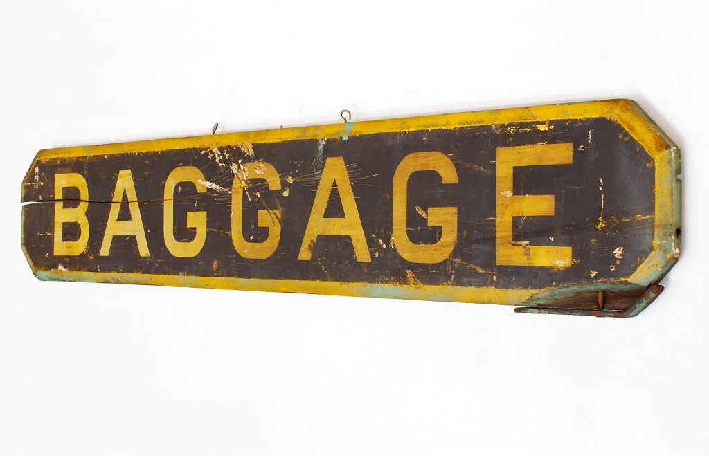 Railroad Station Baggage Sign, circa 1900 For Sale at