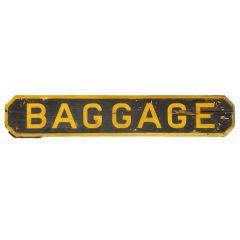 c. 1900 Railroad Station 'Baggage' Sign