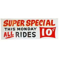 Vintage 'Super Special' Carnival Midway Sign