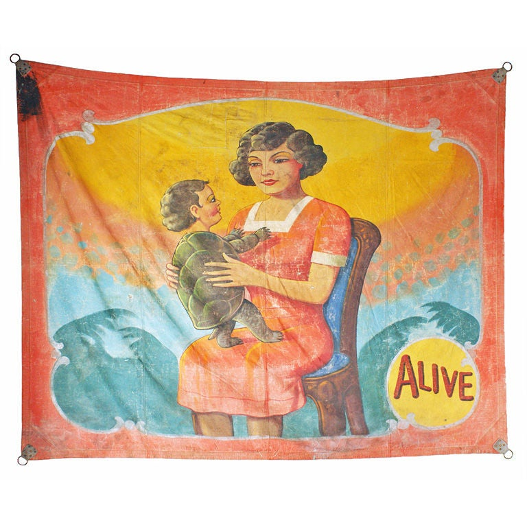 Vintage Turtle Baby Carnival Sideshow Banner, circa 1930s-1940s For Sale