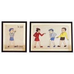 "French School Teacher Educational Paintings ""La Pipe"", circa 1930s"