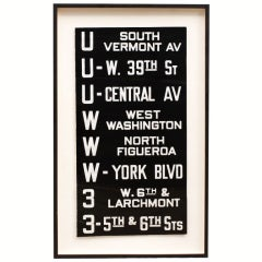 Vintage Los Angeles Railway Trolley Destination Sign