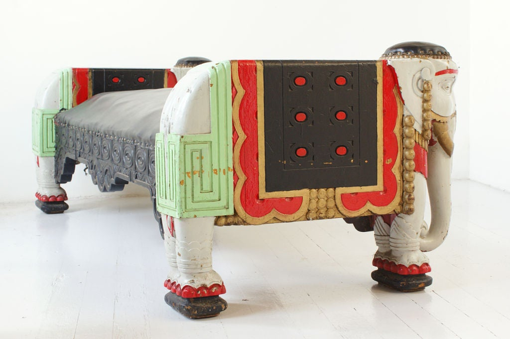 American Chicago Oriental Theater Elephant Bench, circa 1906 For Sale