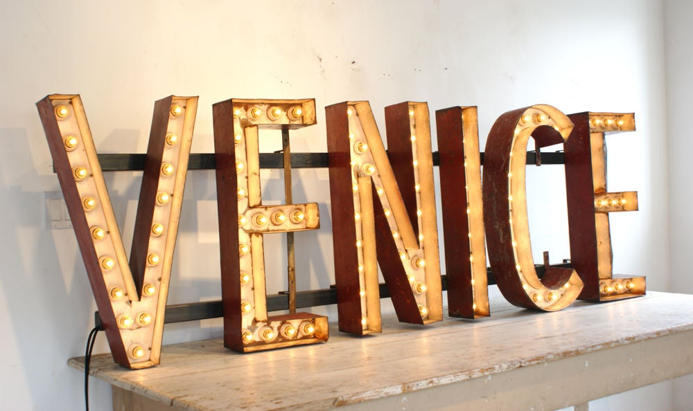 c. 1930's Massive Carnival Midway 'VENICE' Lighted Letters ...