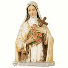 Large St. Therese Chalkware Bust from an Erie, PA Church
