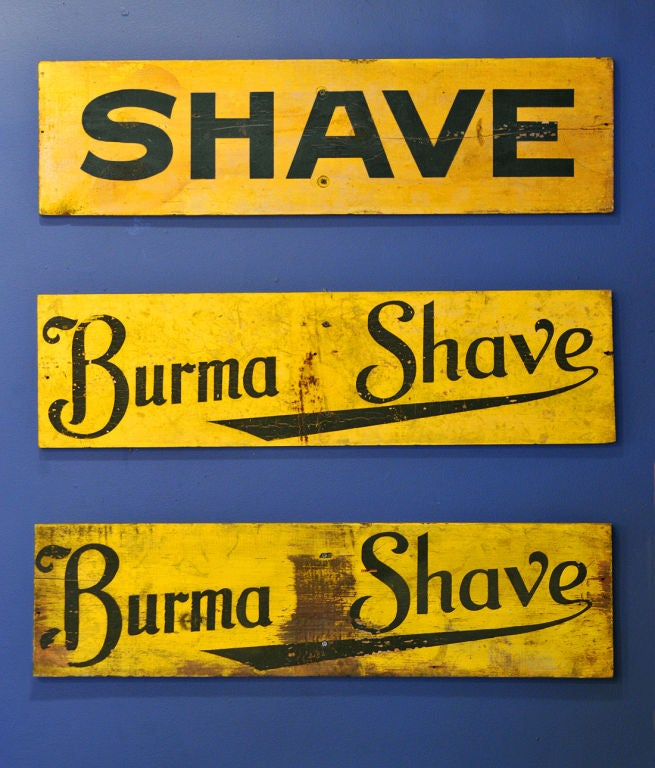 Set of Three c. 1928 Burma-Shave Highway Advertising Signs image 4
