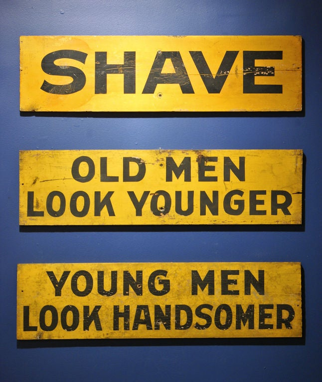 Set of Three c. 1928 Burma-Shave Highway Advertising Signs image 2