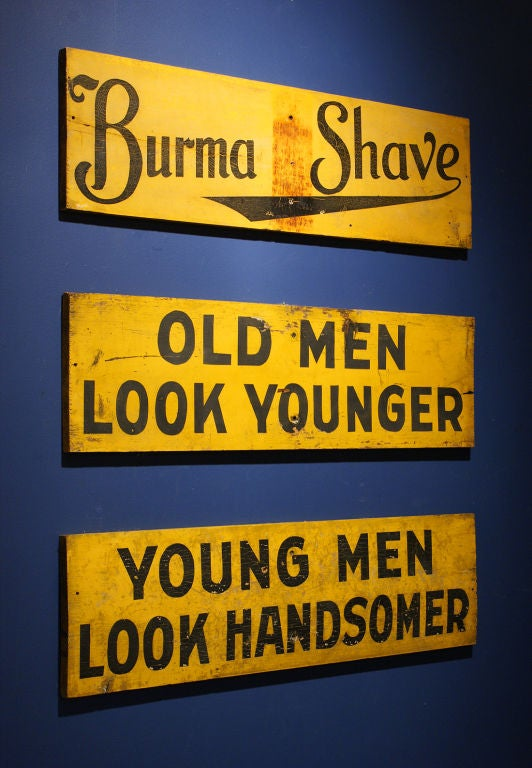 Set of Three c. 1928 Burma-Shave Highway Advertising Signs image 3