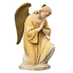 Late 19th Century Carved Wooden Angel