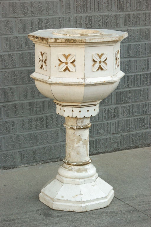 Well made piece of Midwestern Folk Art, with its central base hand-carved from a birch tree trunk. Possibly made as a holy water font or a porch plant Stand.