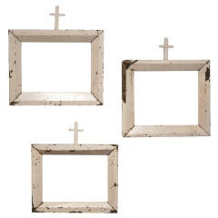Set of Three White Frames with Crosses