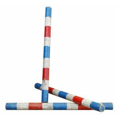 c. 1930's Red White and Blue Wooden Circus Juggling Props