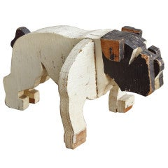 c. 1930's American Folk Art Wooden Bulldog Sculpture thumbnail 1